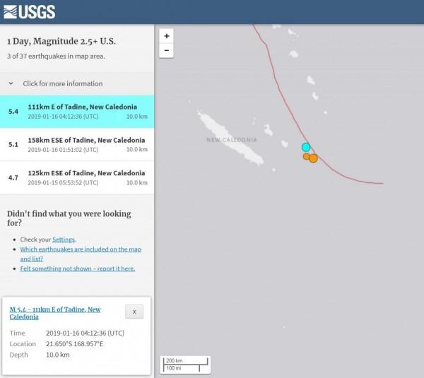 位於南迴歸線附近的法屬新喀里多尼亞(New Caledonia),其鄰近海域在台灣時間今天中午12時12分許發生芮氏規模5.4強震。(擷取自USGS)