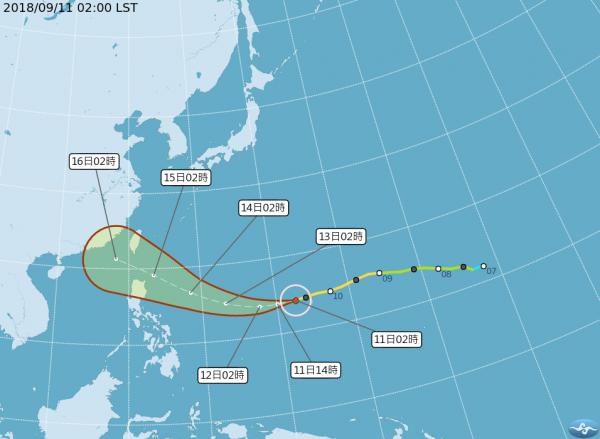 氣象局預報員官欣平指出,山竹對台影響程度大小,週四將會是關鍵。氣象專家吳聖宇則表示,台灣這次處於颱風前進方向右側的「危險半圓區」,有機會出現較強風雨。(圖擷取自中央氣象局)