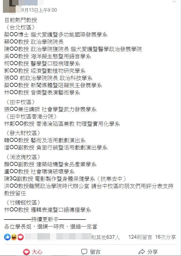 有網友公布自己整理的「熱門教授」開課列表,其中包含「林鄭OO教授」、「韓OO教授」等,令人遐想。(圖擷取自政大學生交流版臉書社團)