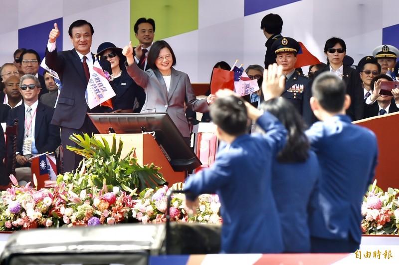 總統蔡英文、立法院長蘇嘉全出席國慶大會。(記者塗建榮攝)