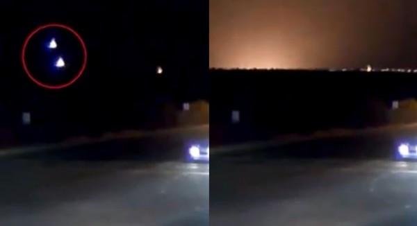 小客機墜毀後發生爆炸,沖天火光讓夜空宛如白晝。(合成照,擷取自YouTube)