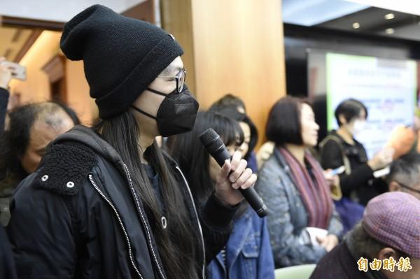 受害的台藝大郭同學。(記者陳志曲攝)