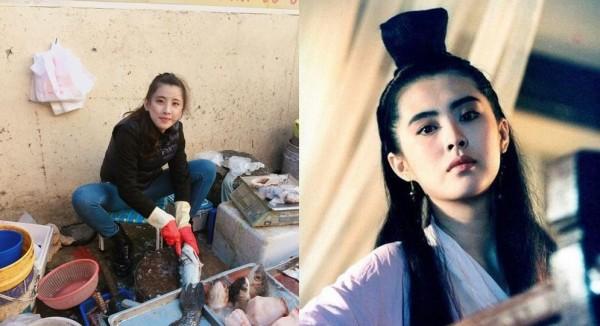 高職女學生貼出自己賣魚照片,讓網友認為與王祖賢很像。(右圖取自劇照,左圖取自爆廢公社)