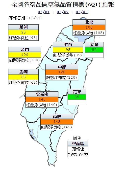 明天各地空氣品質僅花東、宜蘭地區為「良好」等級,其餘地區為「普通」、「橘色提醒」等級。(圖擷自環保署)