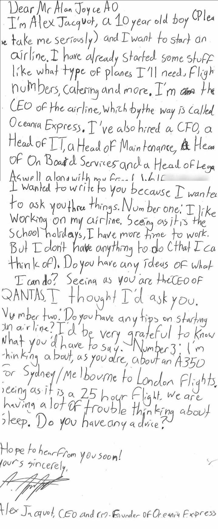 十歲男孩寫給澳洲航空CEO的信件。(圖擷取自Qantas推特)