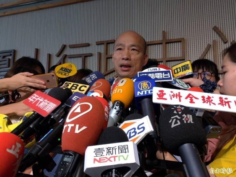 國民黨總統參選人韓國瑜(見圖)日前表示,從鴻海集團創辦人郭台銘的聲明中,感覺他受了很多委屈,向他致意。(資料照,記者王榮祥攝)