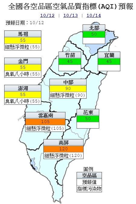 環保署預測,明天雲嘉南及高屏地區空品達「橘色提醒」;中部及馬祖、金門、澎湖為「普通」;其餘地區為「良好」等級。(圖擷取自環保署)