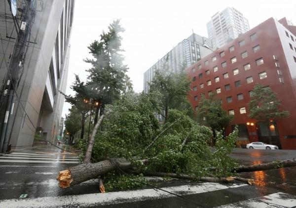 燕子颱風強襲日本關西一帶,不少地區交通癱瘓,傳出災情。(歐新社)
