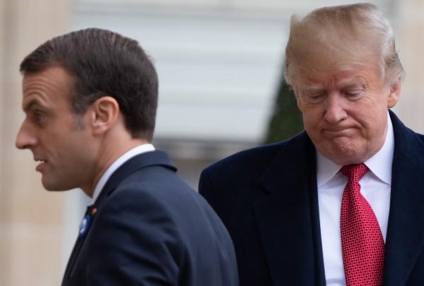 法國總統馬克宏(左)與美國總統川普(右)。(法新社)
