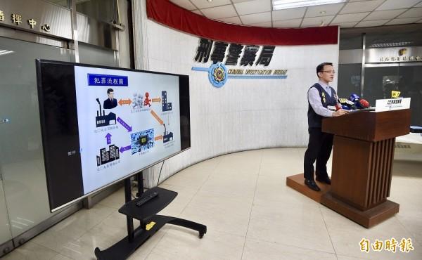 刑事局偵七大隊第一隊隊長呂松浩今天(7日)召開記者會說明案情。(記者羅沛德攝)