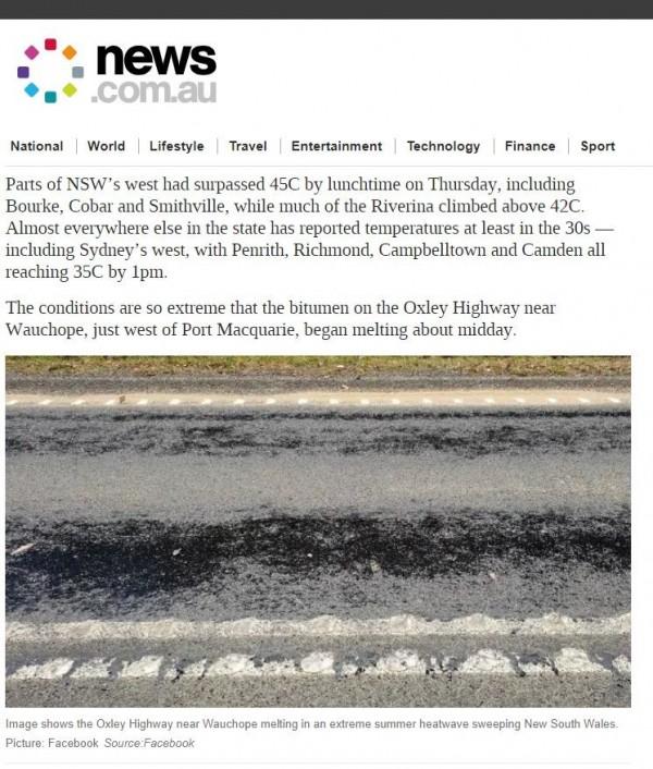 澳洲新南威爾斯州(New South Wales)受熱浪侵襲,今天中午一條馬路竟然「熱到熔化」。(圖截取自news.com.au)