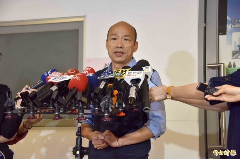 高雄市長韓國瑜(見圖)20日受訪時自爆「車子可能被裝追蹤器」。(資料照)