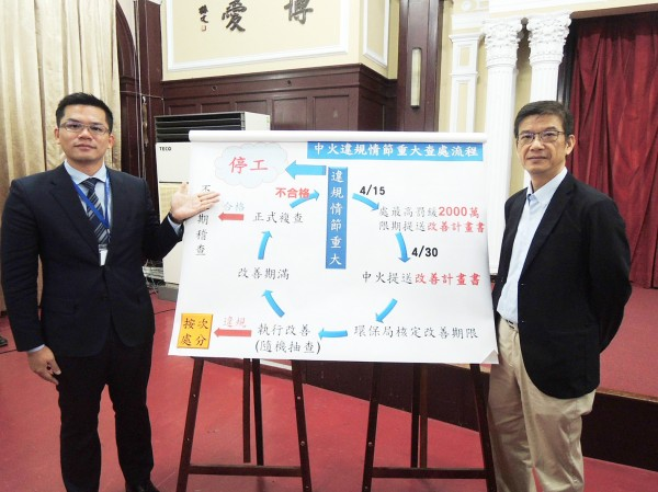 Taichung Information Bureau Director-General Wu Huang-sheng, left, and Environmental Protection Bureau Director-General Wu Chih-chao hold a news conference in Taipei yesterday. Photo: CNA