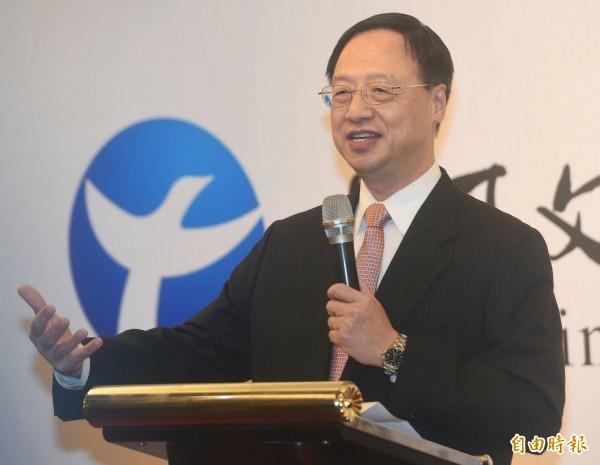 前行政院長江宜樺成立「長風文教基金會」今上午舉辦成立茶會,由於該基金由江宜樺(見圖)擔任董事長。(記者廖振輝攝)