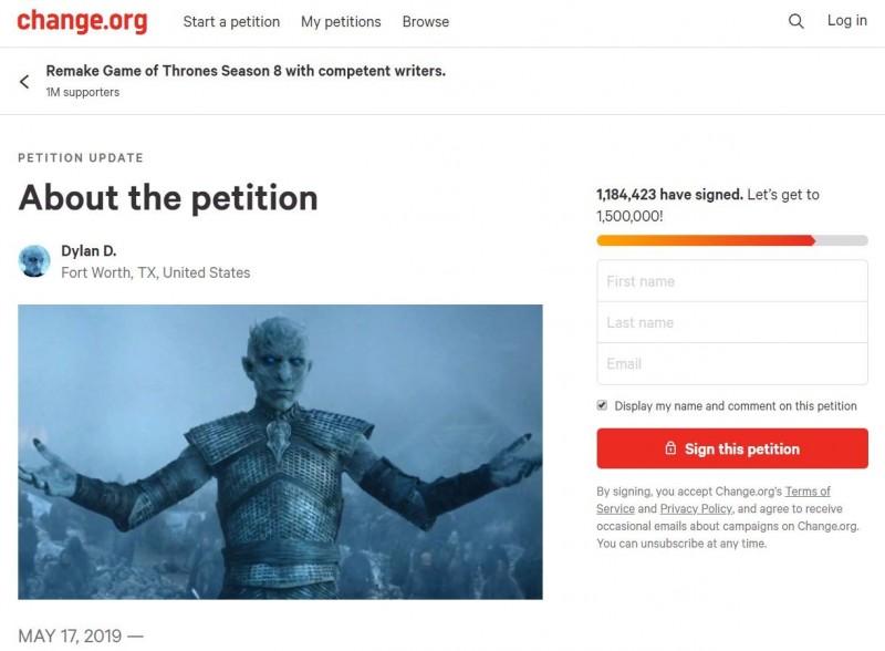不滿的粉絲在連署網站(Change.org)發起名為「找稱職一點的編劇來重拍《權力遊戲》第8季」的連署,迄今已獲逾100萬份簽名。(圖取自連署網站)