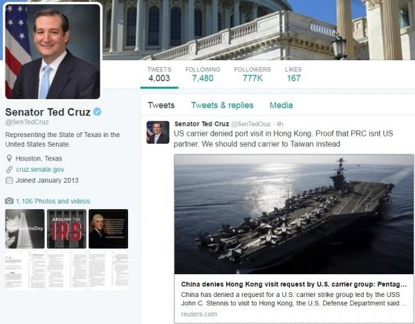 克魯茲在推特表示:「美國航空母艦問香港遭到拒絕,證明中國不是美國的夥伴,我們應該讓航母改道去台灣」。(圖片擷取自推特)