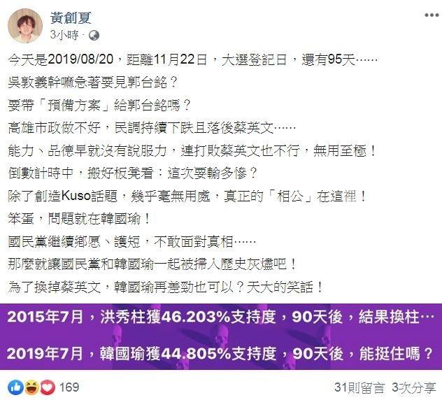 媒體人黃創夏今在臉書發文開嗆國民黨,其實目前的問題就是韓國瑜本身。(圖翻攝自黃創夏臉書)