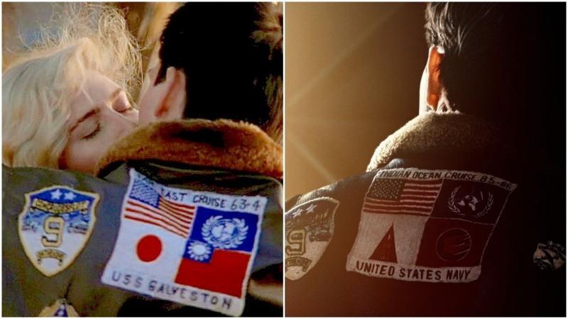 1986年的《捍衛戰士》電影中出現台灣國旗,2019年續集中則把台灣國旗移除。(圖擷取自預告片與臉書)