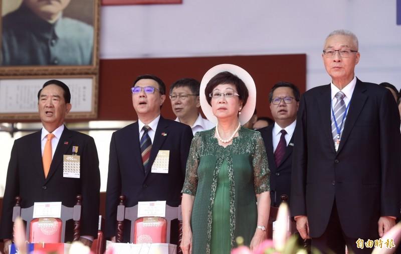 國民黨主席吳敦義出席國慶大會。(記者簡榮豐攝)