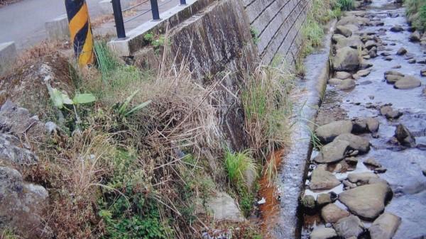 荒野保護協會新竹分會出示橫山鄉大山背一帶除草劑除路邊雜草的狀況。(記者黃美珠翻攝)