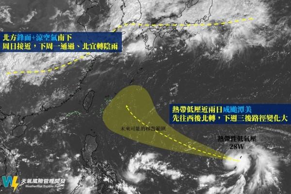 今年第24號颱風「潭美」即將生成,未來路徑可能先往西後北轉,北轉位置決定是否影響台灣。(圖擷自臉書「天氣風險 WeatherRisk」)