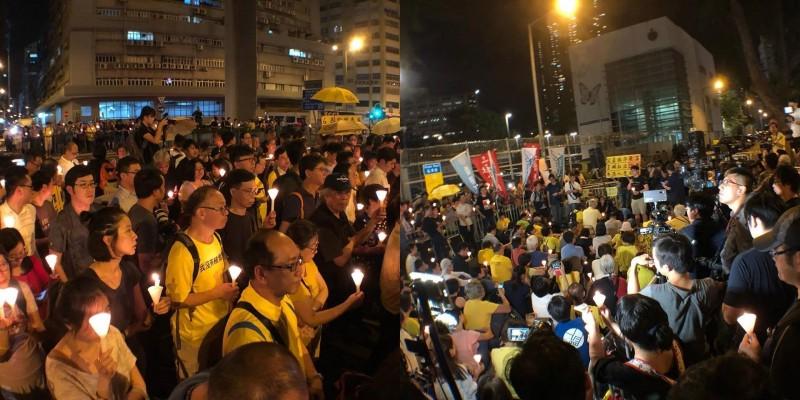 香港法院今(24日)宣判佔中案各名被告刑期,當晚數百名民眾晚上在荔枝角收押所外集會聲援,要求釋放政治犯。(圖擷取自臉書粉專「社會民主連線」)