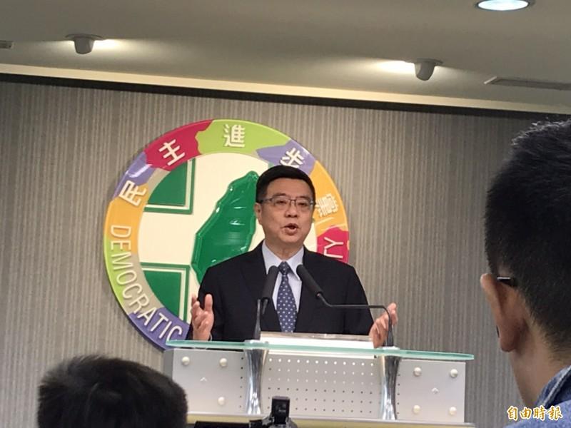 民進黨主席卓榮泰今天宣布蔡英文贏得民進黨總統初選。(記者蘇芳禾攝)