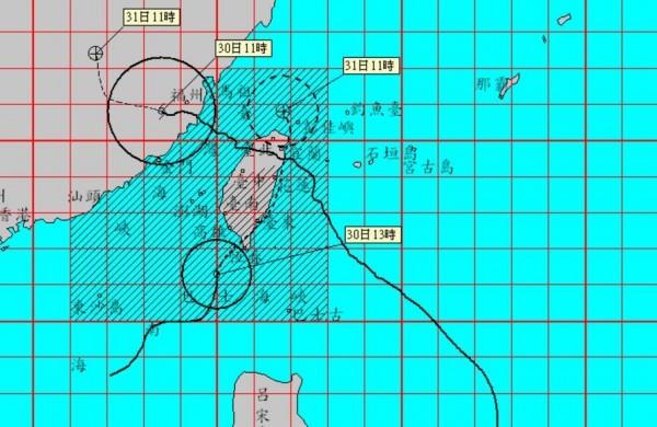 輕度颱風海棠暴風圈已觸及台灣本島南端陸地,高雄市與屏東縣須嚴防超大豪雨。(圖擷自中央氣象局網站)