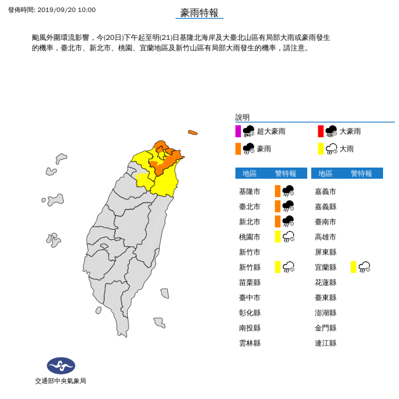氣象局上午10時對基隆市、台北市及新北市發布豪雨特報;對桃園市、新竹縣與宜蘭縣發布大雨特報。(擷取自中央氣象局)