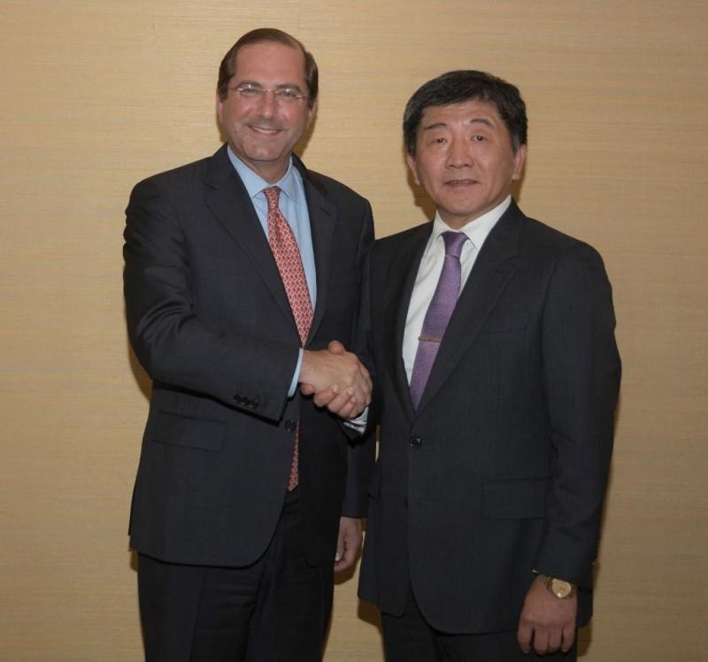 衛福部長陳時中與美國衛生部長艾薩與行會談。(圖擷取自Secretary Alex Azar推特)