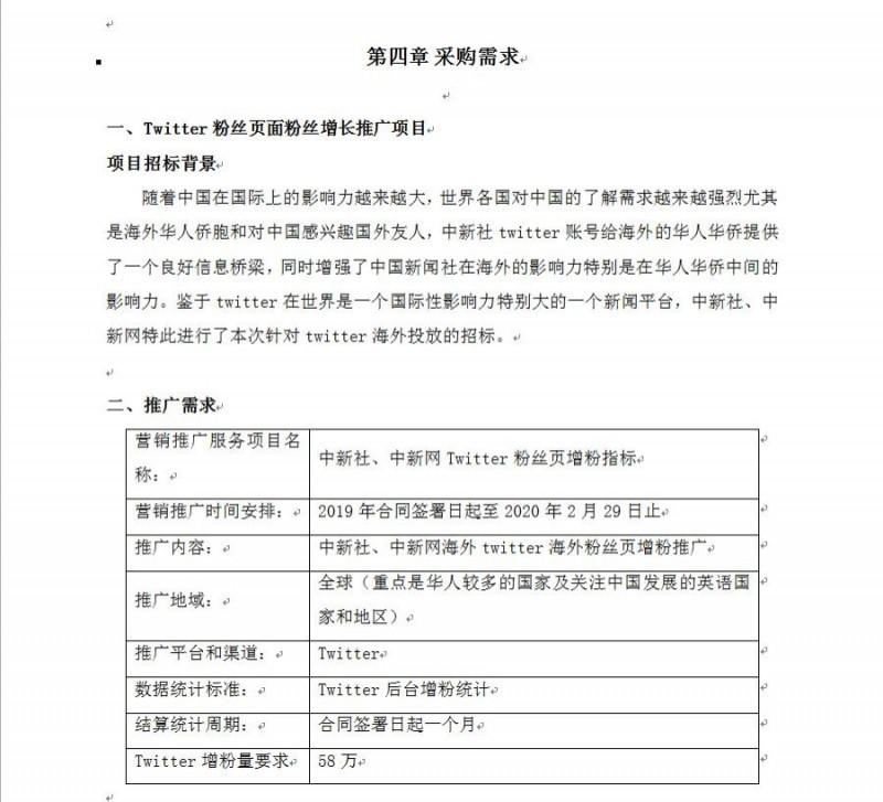 該項目要在一個月內替「中國新聞社」的推特粉絲頁增加58萬個粉絲。(圖擷取自中國政府採購網)