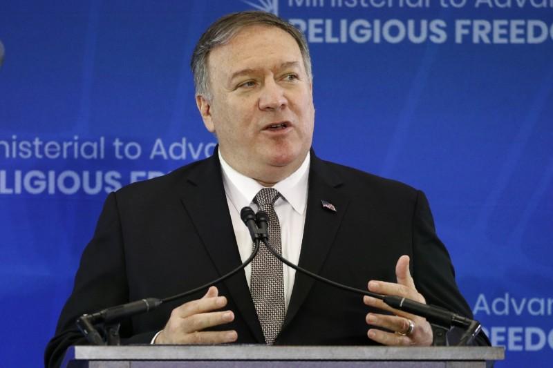 美國國務卿龐皮歐在「促進宗教自由部長級會議」中,批評中國是「世紀汙點」。(資料照,美聯社)