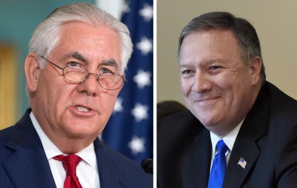 美國總統川普今天(13日)宣布國務卿提勒森(Rex Tillerson,圖左)遭到開除,職務由中央情報局(CIA)局長龐皮歐(Mike Pompeo,圖右)接任。(歐新社)