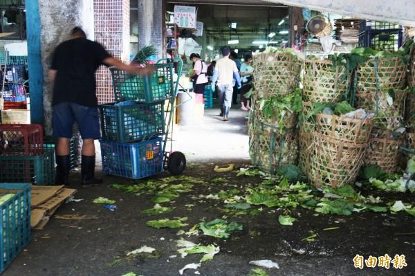 台北果菜市場昨日開市,農產品總到貨數逾15萬件,總交易量則高達2108公噸,價格慘跌讓農民叫苦連天。(資料照)