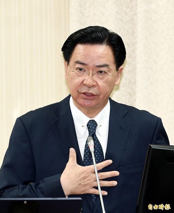外交部長吳釗燮力挺前辦公室主任趙怡翔,希望外界能以能力、表現,而非政黨色彩,作為衡量標準。(資料照)