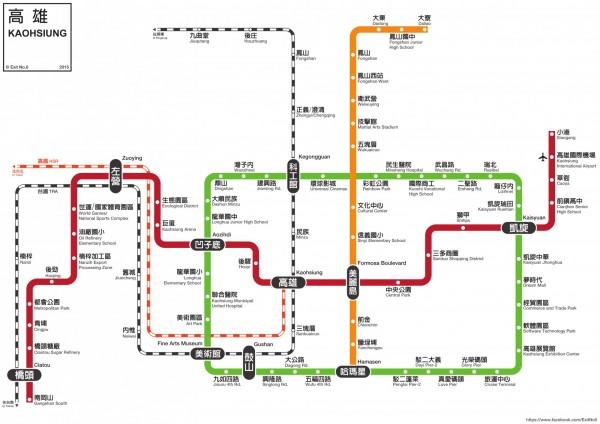 「零號出口」於2015年設計並發布的高捷路線圖。(擷取自「零號出口」臉書粉絲專頁)