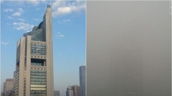 左邊是鄒毅於2015年9月27日所攝,右邊是同年同地點12月1日的照片。(圖擷自CNN)