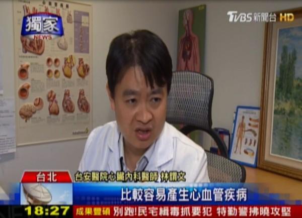 台安醫院心臟內科醫師林謂文亦表示,民眾若長期飲酒,易引發心血管疾病、中風、心律不整。(圖擷取自TVBS)