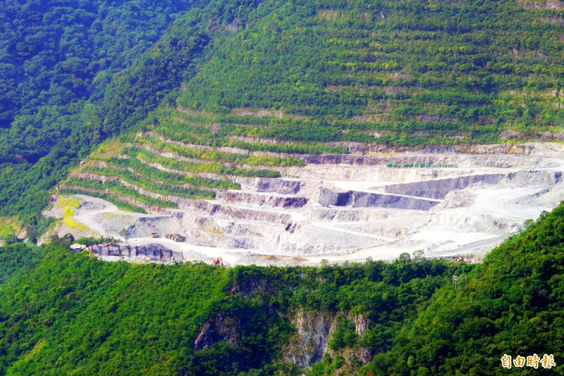 An Asia Cement Corp mine is pictured in Hualien County's Sincheng Township in an undated photograph.   Photo: Wang Chun-chi, Taipei Times
