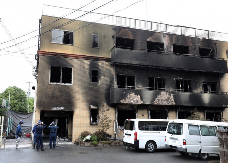 日本京都動畫縱火案,33人慘死。(歐新社)