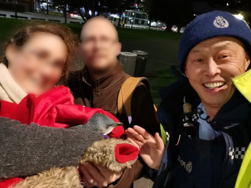 紐西蘭威靈頓一間壽司店遭企鵝闖入,警方到場後將其「逮捕」歸案。(圖擷自Wellington District Police臉書)