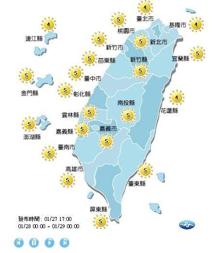紫外線方面,各地的紫外線指數皆位在中量級。(圖擷取自中央氣象局)