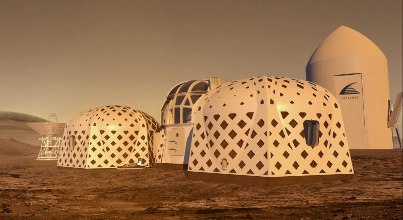 有如帳篷的基地設計奪得第二名。(擷取自NASA)