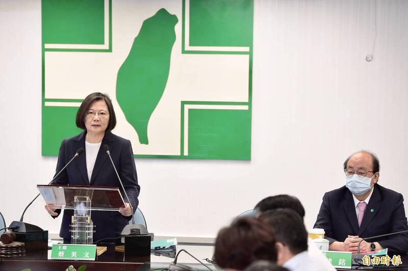 總統蔡英文表示,香港遭遇印證台灣站在民主自由最前線。(記者叢昌瑾攝)