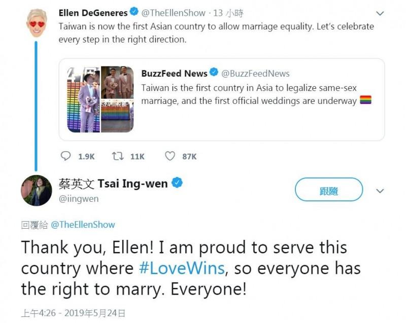 美國脫口秀「艾倫秀(Ellen Show)」主持人艾倫·狄珍妮(Ellen DeGeneres)在推特上稱讚台灣,更稱台灣是亞洲第一個允許婚姻平等的「國家(country)」,總統蔡英文也留言感謝,強調「所有人」都有結婚的權力。(圖擷取自蔡英文推特)