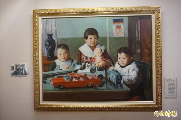 李梅樹畫作《愛孫》「畫中有話」堪稱是李梅樹最有趣的作品。(記者張安蕎攝)