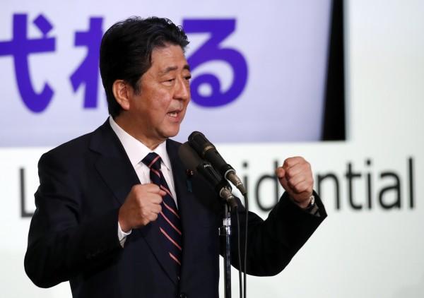 日本首相安倍晉三在自民黨總裁選舉中順利當選。(歐新社)