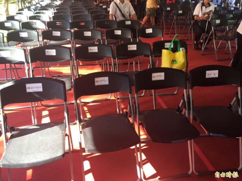 從座位的排列可看出,柯文哲、郭台銘、王金平將毗鄰而坐。(記者陳璟民攝)