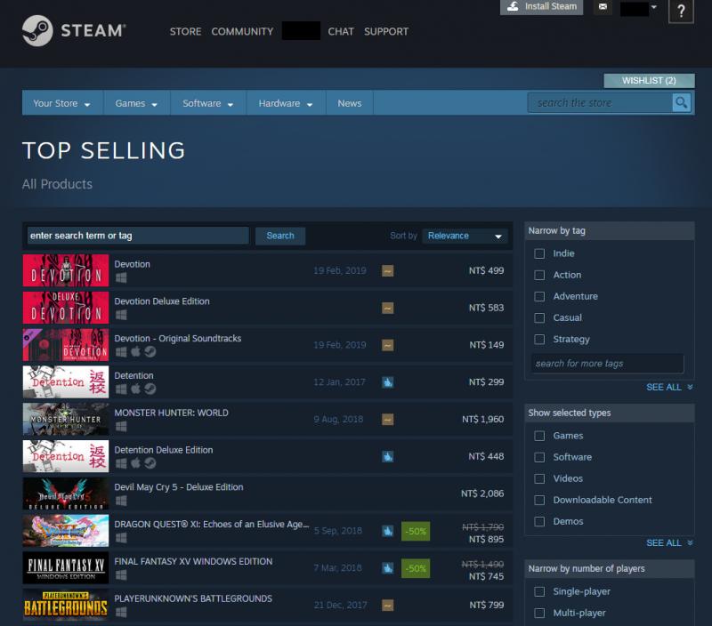 此外,赤燭公司的前一個遊戲、故事以白色恐怖為背景的《返校》也搶下排行榜第4與6名。(圖翻攝自Steam官網)