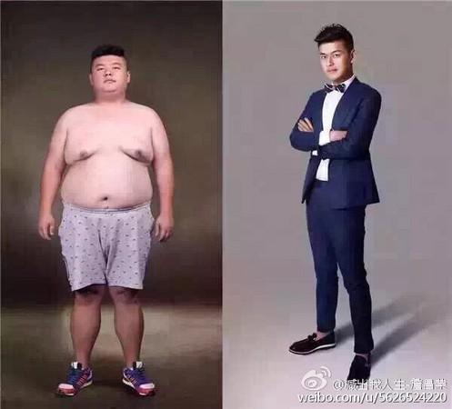 獄警詹昌榮從155公斤瘦到89公斤。(圖擷取自詹昌榮微博)